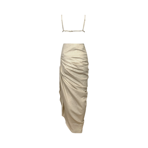 Cream La Robe Saudade Linen-Blend Draped Maxi Dress