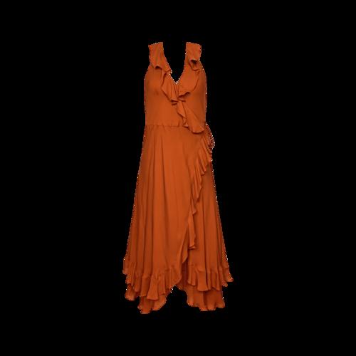Haute Hippie Orange Halter Ruffle Wrap Dress
