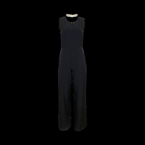 Karl Lagerfeld Black Jumpsuit w/ Pearl Choker