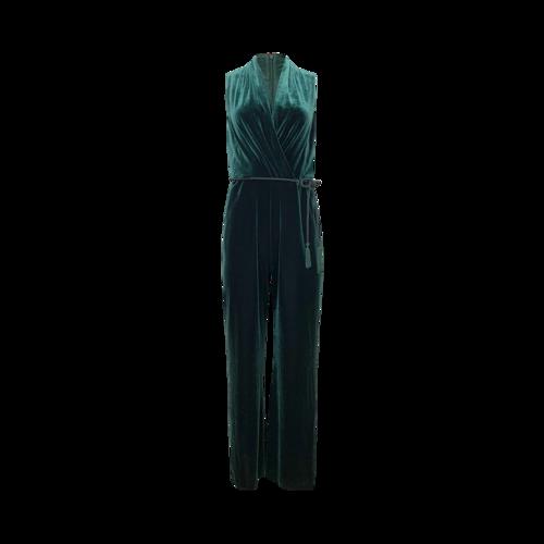 Vince Camuto Green Velvet Jumpsuit w/ Rope Belt