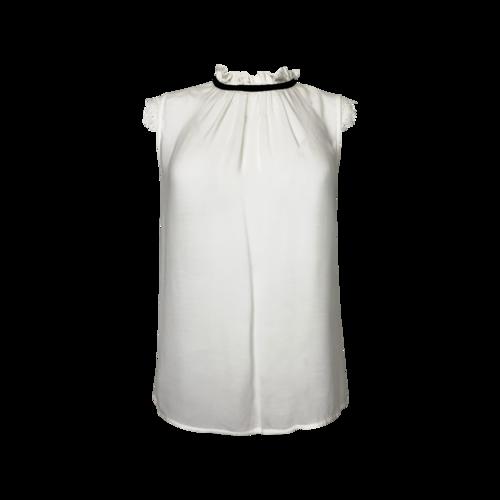 Axara Paris White Sheer Top w/ Lace Sleeves