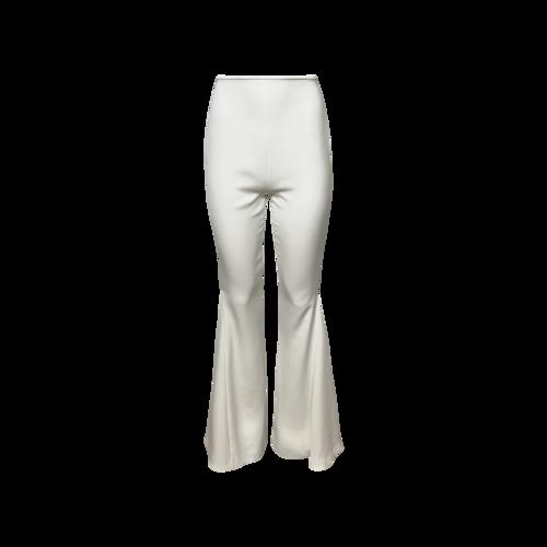 Francesca Miranda White Silk Flared Pants