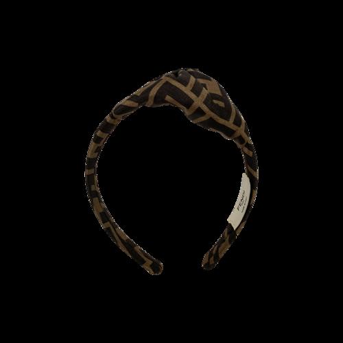 Fendi Brown FF Motif Foulard Headband