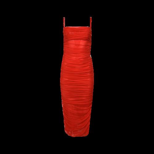 "House of CB ""Fornarina"" Red Organza Mesh Dress"