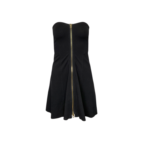 Juicy Couture Black Strapless Front Zip Dress