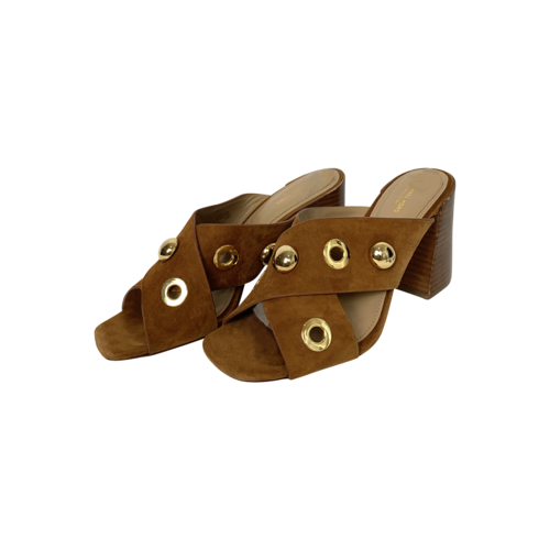 Michael Kors Brown Crossover Grommet Mule Sandals