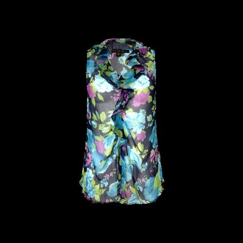 Lafayette 148 Sheer Floral Print Ruffle Top