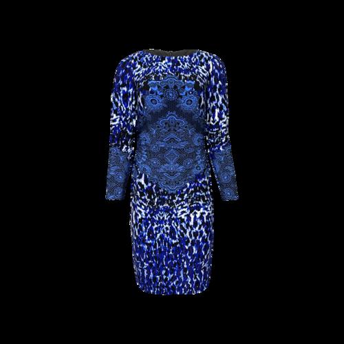 David Meister Blue Multi-Print Sheath Dress