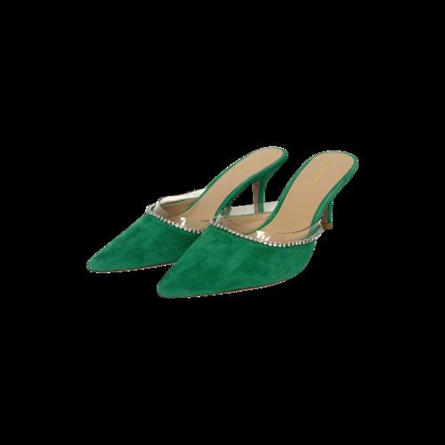 """Flor de Maria Green """"Berenise"""" Suede Embellished Heeled Mules"""