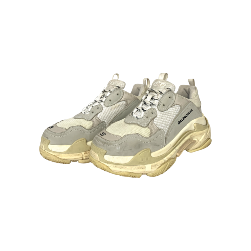 Balenciaga Grey Mesh and Leather Triple S Sneakers
