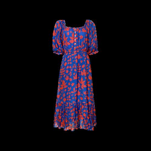 Carolina K Multi-Color Leaf Print Midi Dress