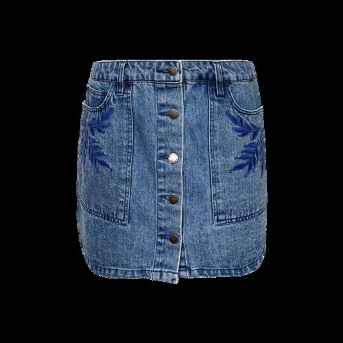 Rebecca Minkoff Blue Embroidered Denim Skirt