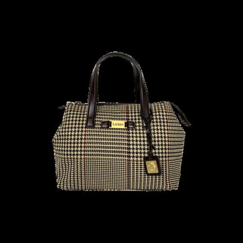 Ralph Lauren Brown Houndstooth Pattern Top Handle Bag