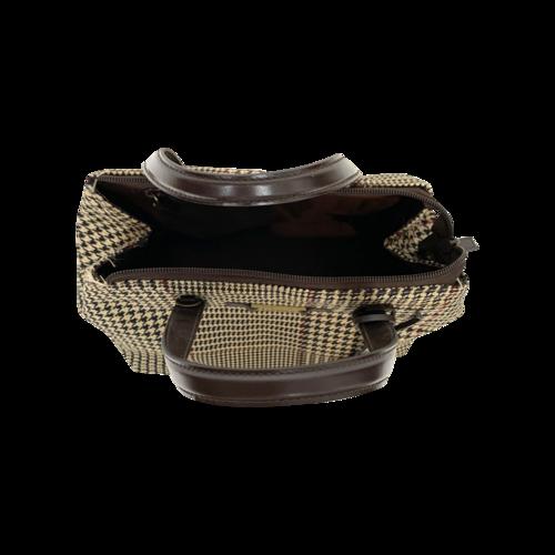 Brown Houndstooth Pattern Top Handle Bag