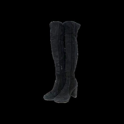 Diane von Furstenberg Black Thigh-High Suede Boots
