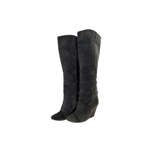 """Isabel Marant Anthracite Leather and Suede """"Prescott"""" Wedge Boots"""