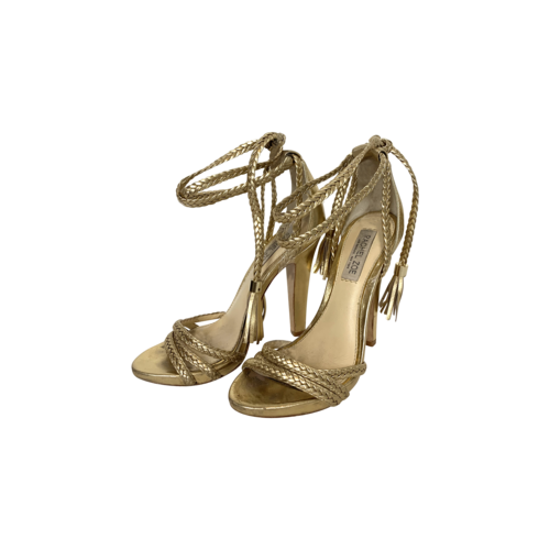 Rachel Zoe Gold Braided Ankle-Tie Heels