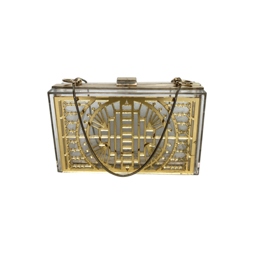 Vintage Acrylic and Gold Clutch