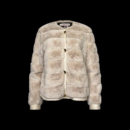 Eliza J Beige Faux Fur Button-Up Jacket