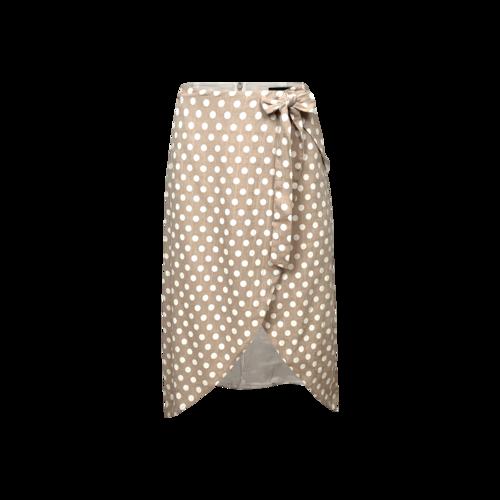 Majorelle Brown Polka Dot Faux Wrap Skirt