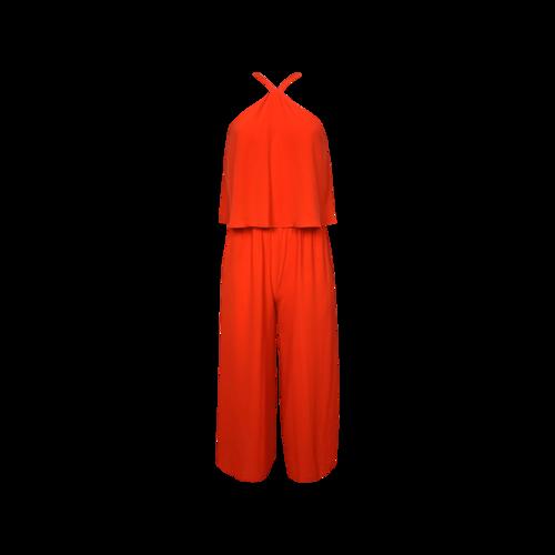 Vince Camuto Red Wide-Leg Halter Neck Popover Jumpsuit