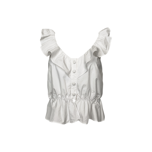 Lovers and Friends White Button Front Ruffle Top