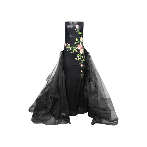 Juan Carlos Pinera Black Embroidered Evening Gown w/ Tulle Train