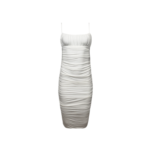 """Lovers and Friends White """"Emma"""" Ruched Midi Dress"""