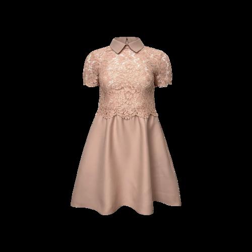 Valentino Pink Lace Bodice Dress