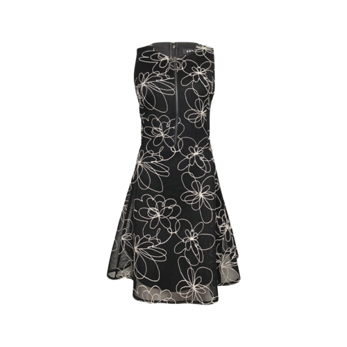 DKNY Black Floral Print Half-Zip Dress