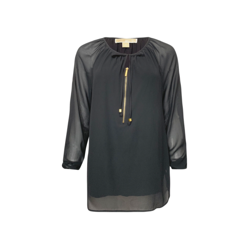Michael Kors Black Sheer Keyhole Top