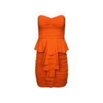 Orange Strapless Ruched Tiered Ruffle Dress