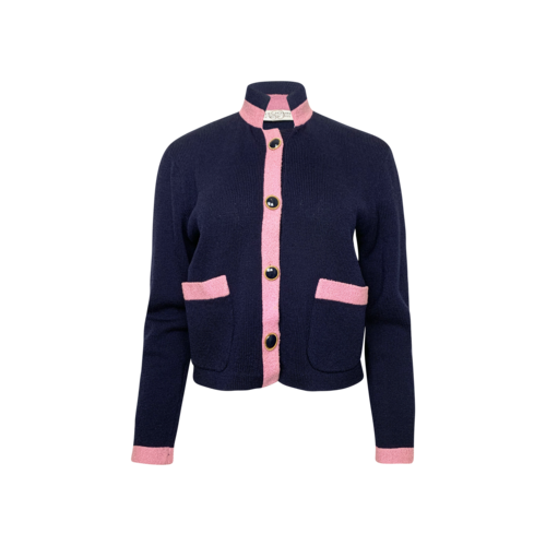 St. John Navy Blue and Pink Soft Buttoned Jacket
