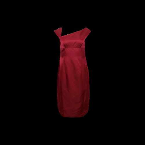 Monique Lhuillier Red Asymmetrical Neck Satin Dress