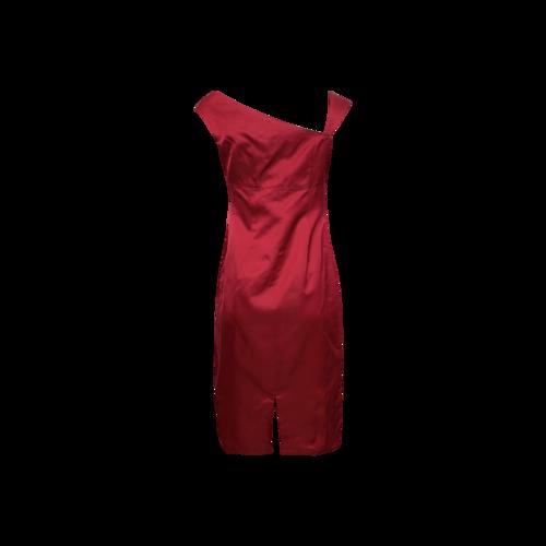 Red Asymmetrical Neck Satin Dress