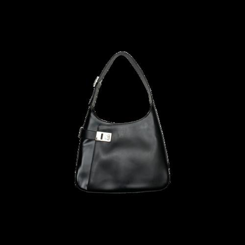 "Salvatore Ferragamo Black Leather ""Gancini"" Shoulder Bag"