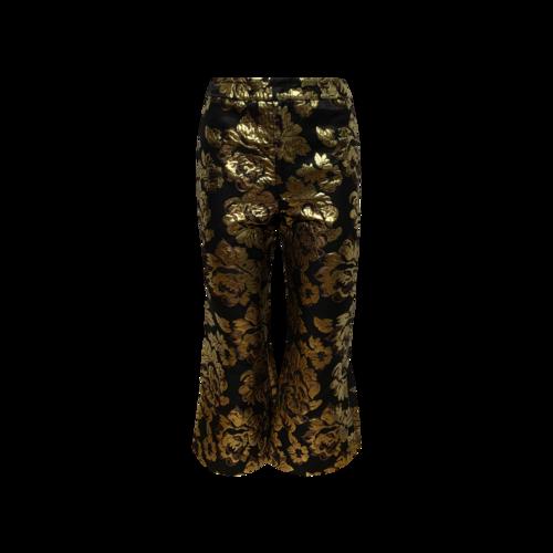 Smythe Metallic Gold Floral Print Flare Pants