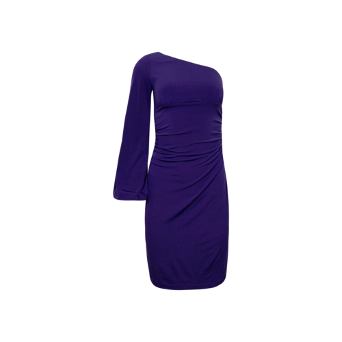 Maggy London Purple One-Shoulder Side Cinch Dress