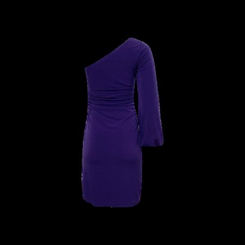 Purple One-Shoulder Side Cinch Dress