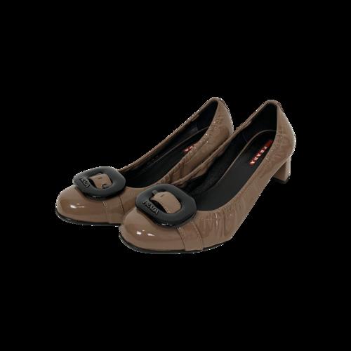 Prada Brown Patent Leather Buckle Heels