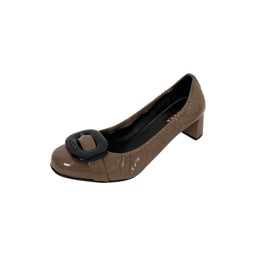 Brown Patent Leather Buckle Heels