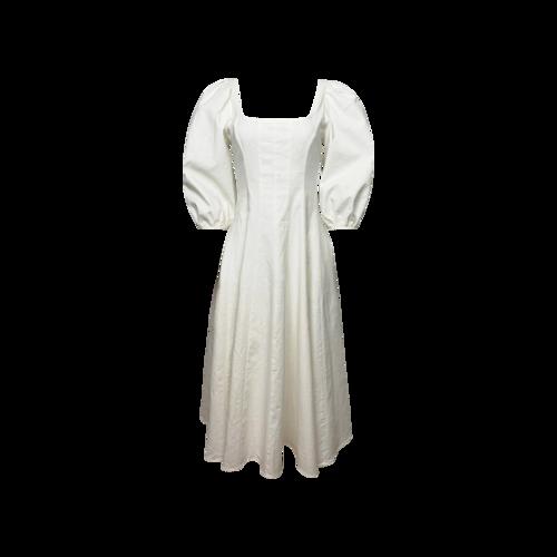 "STAUD White ""Swells""  Square Neck Linen Midi Dress"