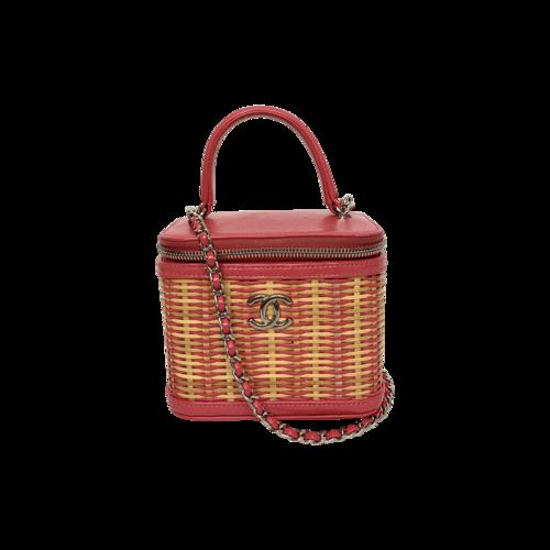 CHANEL Pink Calfskin Raffia Small Take Away Vanity Case Bag