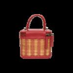 Pink Calfskin Raffia Small Take Away Vanity Case Bag