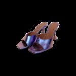 "Metallic Purple ""Lupita"" Pedestal Slide Mules"