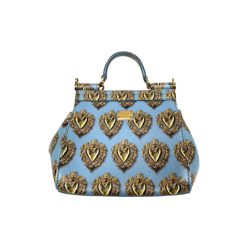 Dolce & Gabbana Blue Sacred Heart Mini Sicily Bag