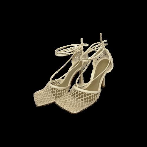Bottega Veneta Cream Stretch 90mm Mesh-Panel Lace Up Sandals