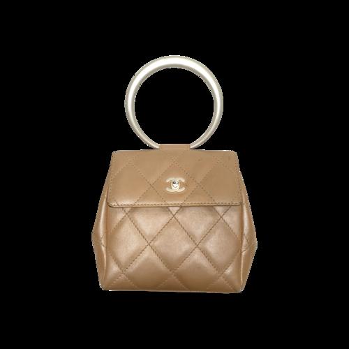 CHANEL Beige Lucite Ring Mini Flap Bag