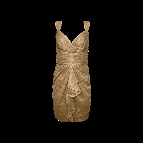 David Meister Gold Front Drape Sequin Dress