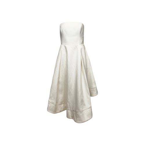 """C/MEO COLLECTIVE White """"Making Waves"""" Strapless High-Low Dress"""